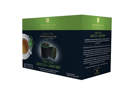 Wissotzky Tea Timeless Green Tea with Nana Mint Single Serve Cups for Keurig K Cups, 12 Count