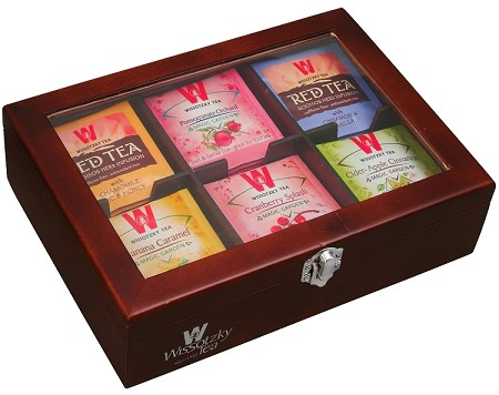 Wissotzky Tea 60 Dessert Flavored Teas in an Ebony Tea Chest