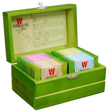 Wissotzky Tea Mini Green Tea Chest / 4 Assorted Flavours / 32 Tea Bags