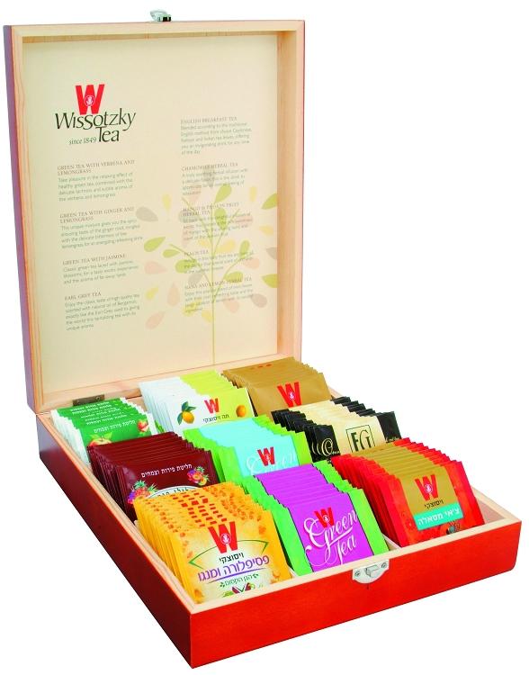 Wissotzky Tea Mahogany 9 Flavors Tea Chest Gift Box 90 Assorted Teas