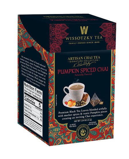 Wissotzky Tea Signature Collection, Artisan Chai Tea, Pumpkin Spiced Chai, 16 Count