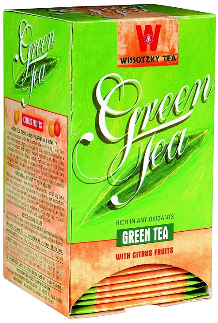 Wissotzky Tea Green Tea with Citrus Fruits box of 20 tea bags
